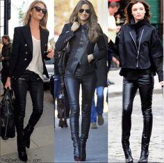 Rosie Huntington-Whiteley, Irina Shayk and Miranda Kerr street style with leather pants.  Be featured in Model Citizen App, Magazine and Blog.  www.modelcitizenapp.com