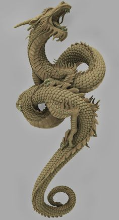 Chinese Dragon Art, Chinese Art, Chinese Prints, Chinese Design, Fantasy Creatures, Mythical Creatures, Japanese Dragon Tattoos, 3d Dragon Tattoo, Dragons