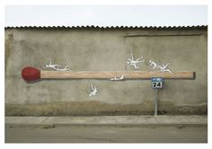 """match-collaboration-with-cucocola. """"Objects"""" a series by Ampparito in Spain Banksy Graffiti, Best Graffiti, Street Art Graffiti, Street Installation, Wall Writing, Spanish Artists, Outdoor Art, Street Artists, Magazine Art"""