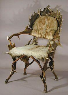 Antler Chair With Wild Boar Skin, Ca. 1880.