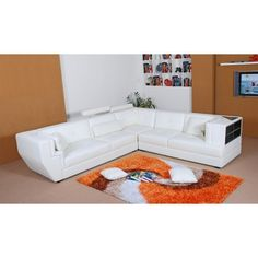 La Cassa Leather Sectional Sofa with Shelves