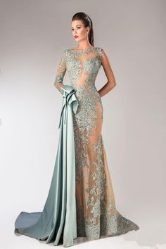 Sexy Mermaid Lace Appliques Long Evening Dress 2016 Sweep Train Illusion_High Quality Wedding & Evening Prom Dresses at Factory Price-27DRESS.COM