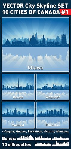 Canada This is a set of 10 cities of Canada in vector. It can be used for any design work associated with city skyline cityscape metropolis and urban landscapes. The files were saved in they are very easy to edit. City Vector, Vector Vector, Construction Business Cards, Building Icon, Jersey City, London City, Chicago City, Oklahoma City, Atlantic City