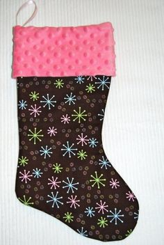 Snowflakes Christmas Stocking Cyndiloo by cyndilooboutique on Etsy, $20.00