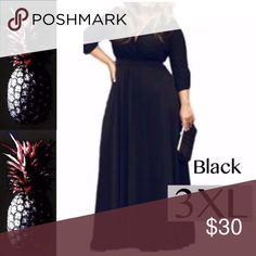 """V Neck 3/4 Sleeve Long Max, BLACK- 3XL Black  3X (US20-22) Bust: 126cm/49.6""""; Waist:110cm/43.3""""; Length: 149cm/58.7"""" ;Sleeve Length:53cm/20.9""""  sexy deep v-neck 3/4 sleeve dress party casual loose plus the Maxi dress  *Soft and stretchy  Comfortable quality stretch jersey knit rayon/spandex fabric 3/4 sleeve v neck dress Type: Women Sexy Casual Cocktail Evening Dinner Party Club Dress Plus Size Fashion can, Women IN STOCK NOW!! Dresses Maxi"""