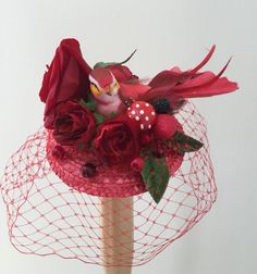 Red bird fascinator with veil. by talulahblue on Etsy