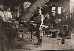 Child labor in the USA, early 1900s. It was common to see children getting injured while working with unsafe tools and sick due to health issues.