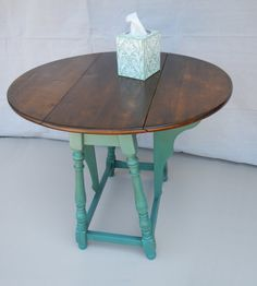 Restored Antique Butterfly Drop Leaf Table - Modern Refinish In Weathered Teal…