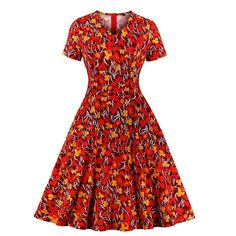 Women Floral Print V Neck Short Sleeve Sundress Party Retro Skater Swing Dress - Swing Dresses - Ideas of Swing Dresses Robe Swing, Swing Dress, Vintage 1950s Dresses, Retro Dress, Vestidos Retro, Rockabilly, Looks Vintage, 1950s Fashion, Fit Flare Dress