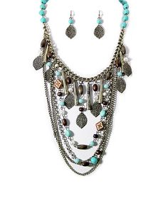 Love this Brown & Turquoise Layered Necklace & Earrings on #zulily! #zulilyfinds
