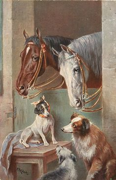 .two horses stand looking over white boards with vines growing from left, two dogs watch
