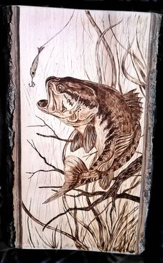 firing bass pyrography of fish by Art-Caren - holzbrennen/ schnitzen Wood Burning Tips, Wood Burning Crafts, Wood Burning Patterns, Wood Crafts, Wood Burning Projects, Diy Crafts, Ed Wood, Wood Art, Wood Burning Stencils