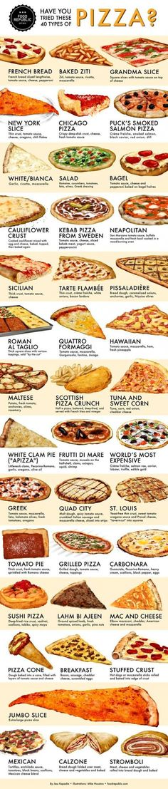 How many pizza slices have you actually tried? We think you'll be surprised at just how many styles of pizza are available. Pizza Day, Eat Pizza, Good Pizza, Pizza Food, Perfect Pizza, Pizza Vegetariana, Mac And Cheese Pizza, White Pie, Pizza Cones