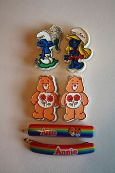 I remember these barrettes! The upper four I always thought that they looked like miniature cookie cutters. XD