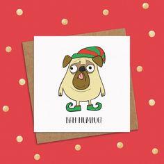 d6ad32442e11c Bah Humbug Christmas Card - Pug Christmas Card - Bah Humbug Christmas Card  - Grumpy Pug