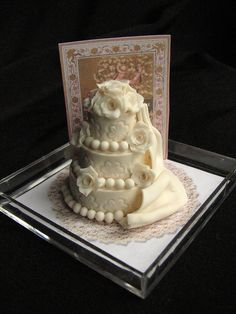 Dollhouse miniature wedding cake by goddess of chocolate, via Flickr