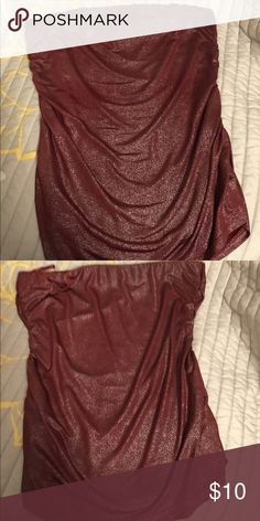 Charlotte Russe red and silver tube top Gorgeous and super flattering! Great for a girls night out!! It's a cool toned red with silver flecks. Sort of shiny light weight material! Charlotte Russe Tops Tank Tops