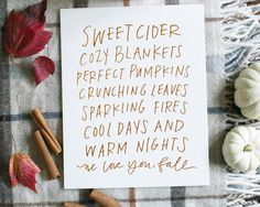 Sweet cider, cozy blankets, perfect pumpkins, crunching leaves, sparkling fires, cool days and warm nights – we love you, fall! about this piece Casually penned
