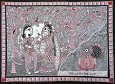 Madhubani Art, Madhubani Painting, Indian Art Traditional, Basic Mehndi Designs, Indian Folk Art, Krishna, Projects, Fabrics, Paintings