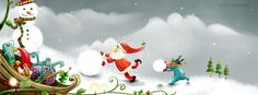 Christmas Holiday Santa Snowman Facebook Cover CoverLayout.com