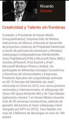 Ricardo Gómez Potencia y creatividad Mexicana en este ponente 2014, creador de innumerables juegos. Aprende y conoce más a cerca de él a través de su platica en 1ro de Marzo.