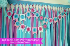 DIY Party Background Tutorial: Cheap & Easy plastic tablecloth cut into strips and thumbtacks Frozen Birthday Party, First Birthday Parties, Happy Birthday, Frozen Party, 3rd Birthday, Diy Birthday Banner, Diy Banner, Birthday Ideas, Banner Template