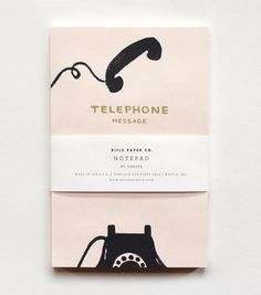Vintage Telephone Notepad  $8.00    Inspired by old telephone message pads, our new notepad features a vintage-style illustration against a pale pink background. Set beside your phone or use as an everyday pad. Includes 85 tear-off sheets, full color printing on natural white paper.