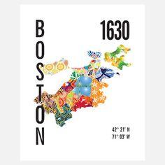Jen rocks!  Boston Neighborhood Map Bold, $21, now featured on Fab.