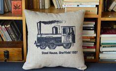 Steam Train 1937 linen cushion pillow cover sofa bedroom sitting room adornment