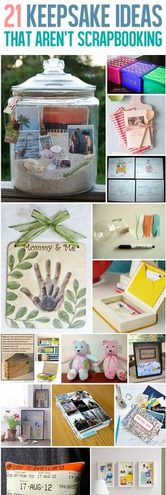 21 Keepsake Ideas That Aren't Scrapbooking. Different ways to save photos and display them without committing to scrapbooking.