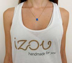 Blue Opal Stone Hamsa Fatima's Hand Pendant Dainty by IzouBijoux
