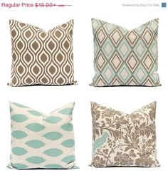 Decorative throw pillow covers in a beautiful seafoam green Ikat and kelp brown on linen. All designer prints from Premier Prints. This listing