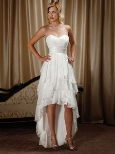2012 Fashion Sheath/Column Sweetheart Strapless Empire Waist Short Front And Long Back With No Train Sleeveless Draped Beading Tiered Ruffles Lace-up Stain Chiffon Lining White Nectarean Wedding Dresses/Bridal Gowns