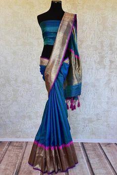90D185 Bright Blue Muga Benarasi Saree