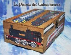 Caja pirograbada y pintada de trenes