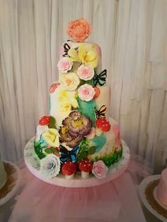Butterfly garden cake! #christening #fondant cake
