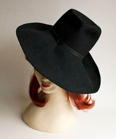 Vintage Retro 1960s/70s Black Felt MARIDA Large Brim Fedora Hat by UpStagedVintage on Etsy
