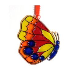 Bright & Colorful ORNAMENT  Butterfly  Acrylic Blue  Orange  by CreativeXpression1