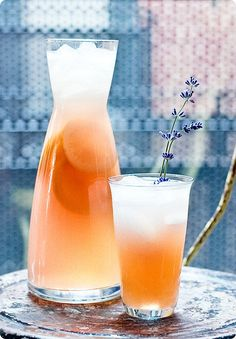 """Lavender Lemonade:  Glass:  1.5oz Vodka (Ciroc seems appropriate but we used a local Pennsylvania vodka)  1.5oz Lillet Blanc  1oz Lavender Syrup (recipe below)  1oz Lemon Juice  2oz Chilled Soda Water  French Lavender Flower for Garnish  Pitcher (makes 4 glasses):  3/4 Cups Vodka  3/4 Cups Lillet Blanc  1/2 Cup Lavender Syrup  1/2 Cup Fresh Lemon Juice  1/4 Cup Chilled Soda Water for each glass  French Lavender Flower for Garnish    Methodology:    Lavender Syrup:  Add equal parts sugar and water to a medium s..."