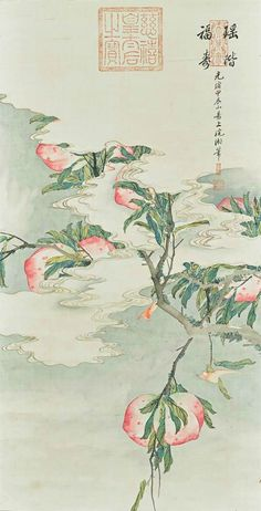 Empress Cixi (1835-1908), Peaches. Hanging scroll, ink and colour on silk, 101 x 51.5 cm. (39 3/4 x 20 1/4 in.). Inscribed and signed, with four seals of the artist. Dated jiachen year (1904) of the Guangxu period