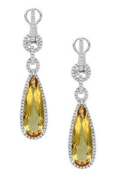 14K White Gold Pear Citrine & Diamond Trim Multi-Hoop Dangle Earrings