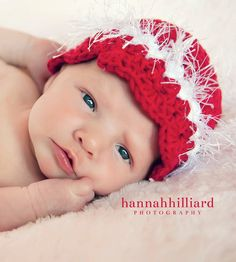 Love this shot!!     Red Cloche Fur Hat Mary Jane Shoe Booties Baby Girl Christmas Set Modern Crochet Infant 3 to 6 Months Size