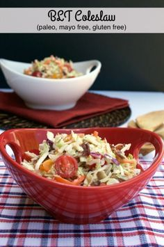 Mayo-free BLT Coleslaw combines salty bacon, sweet cherry tomatoes and shredded cabbage into a delicious twist on the classic side dish!