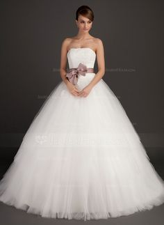 Ball-Gown Strapless Sweep Train Tulle Wedding Dress With Sash Appliques Lace Bow(s) - Wedding Dresses - JJ's House Wedding Dresses Under 100, Lace Wedding Dress, Tea Length Wedding Dress, Country Wedding Dresses, Princess Wedding Dresses, Colored Wedding Dresses, Modest Wedding Dresses, Tulle Wedding, Cheap Wedding Dress