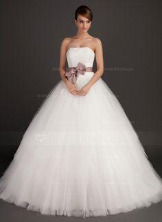 Corte de baile Estrapless Barrer/Cepillo tren Satén Tul Vestido de novia con Fajas Los appliques Encaje Lazo(s) (002015495) - JenJenHouse