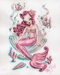 Siren Mermaid, Mermaid Art, Mermaid Paintings, Vintage Mermaid Tattoo, Mermaid Sketch, Mermaid Tails, Illustrations, Illustration Art, Mermaids And Mermen