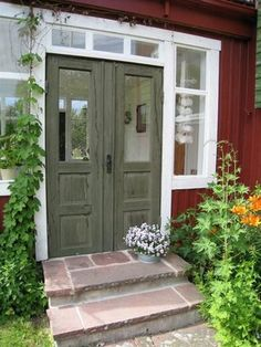 Punainen torppa ja pihapiiri, Red house and a yard Diva Nails diva nails 85255 House Front Door, House Entrance, Entrance Doors, Scandinavian Cottage, Cozy Cottage, Scandinavian Interior, Country Home Exteriors, Cabin Doors, This Old House