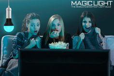 Don't turn off your lights during a scary movie, dim them with MagicLight! There's no need to get off the couch to dim your lights, use the MagicLight app to control your lights and add a little color to make movie time magical! #movies #movienight #cool #giftideas #sunday #tech #smartbulb #magiclight #thingstodo