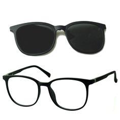 Óculos Armação de Grau e Sol Izaker Clipon Retrô Redondo Preto 7009 Retro, Glasses, Products, Eyewear Trends, Brazil, Lenses, Eyewear, Eyeglasses, Retro Illustration