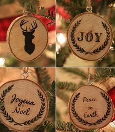 Wood slices emblazoned with seasonal messages are right at home in a country Christmas display. Get the tutorial at Upcycled Treasures »  - GoodHousekeeping.com